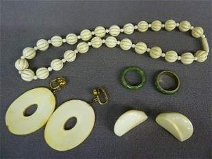 """Five Pieces of Jewelry including 17"""" Elephant Ivory"""