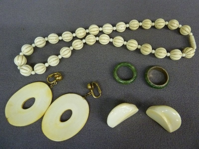 "Five Pieces of Jewelry including 17"" Elephant Ivory"