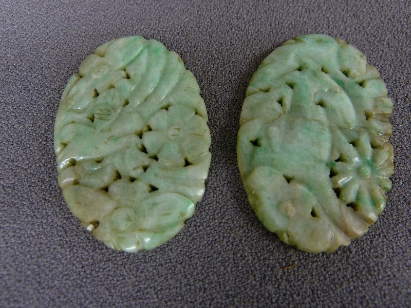 "PIERCE CARVED GREEN JADE PLAQUES - height 1.75"" width"