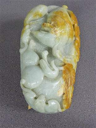 WELL CARVED JADE ROCK with FACE , HANDS & LEAVES - Hgt
