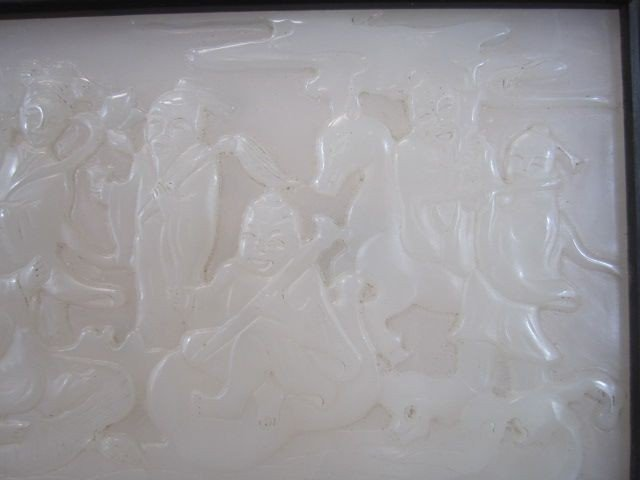Carved Chinese Table Screen  with White Jade Panel of - 4