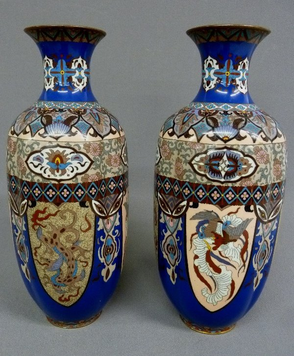 Early 20th Century Pair of High Quality Cloisonne Vases