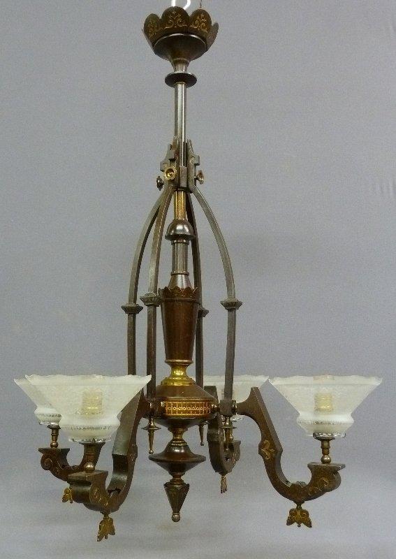 American 4 Arm Circa 1870's Gas Chandelier maker (