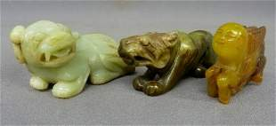 3 Carved Chinese Jade Animals from left to right -