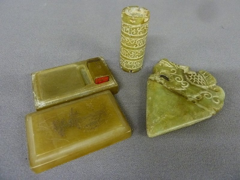 3 Pieces of Chinese Jade including Chinese Stamp in