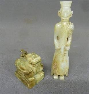 Two Carved Chinese Jade figures - Carved Jade animal, h