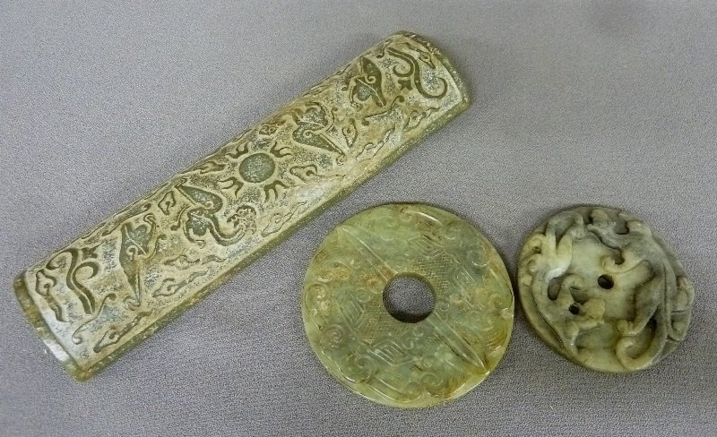 Three Pieces of Carved Chinese Jade - Long piece on