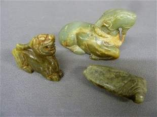 Three Carved Chinese Jade including 2 animals and a