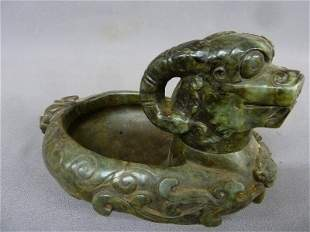 """Chinese Carved Jade Bowl with Removable Head - L 9"""""""