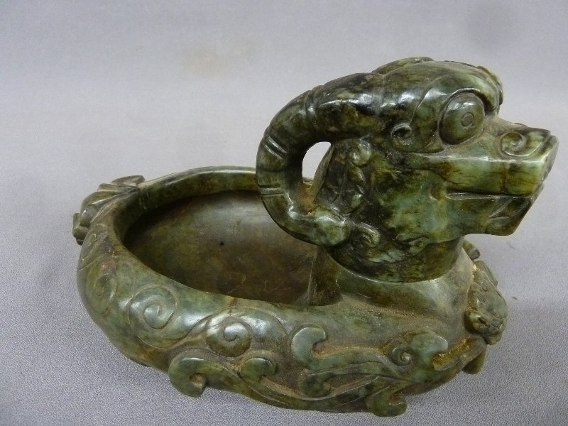 Chinese Carved Jade Bowl with Removable Head - L 9""