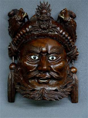 """10"""" CHINESE WELL CARVED WOOD MASK OF MAN & DRAGONS with"""