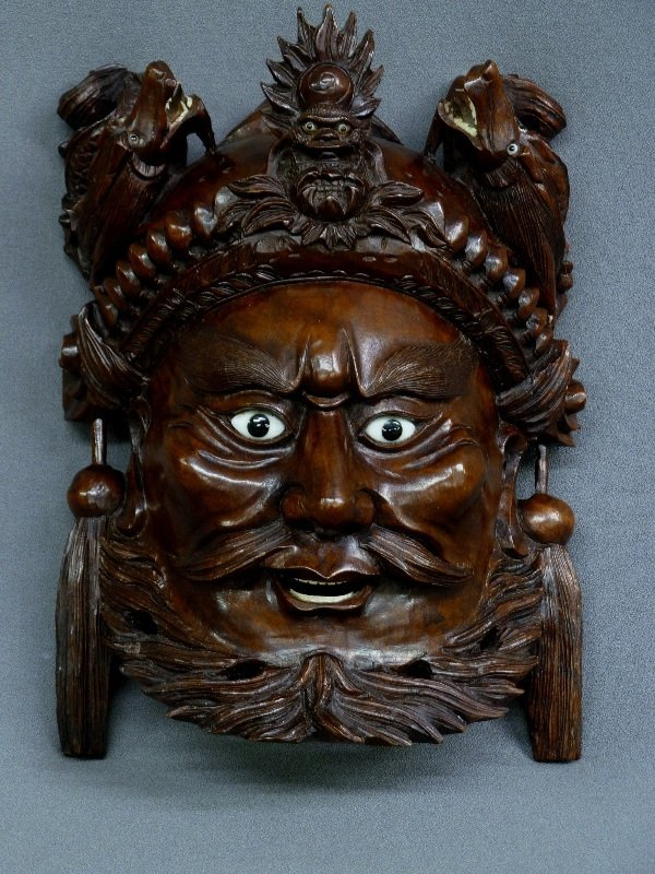"10"" CHINESE WELL CARVED WOOD MASK OF MAN & DRAGONS with"
