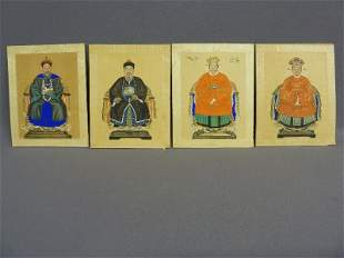 Set of 4 Chinese Ancestral Royalty Paintings on Silk