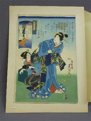 Antique Asian Color Wood Block Print of 2 Woman - Hgt