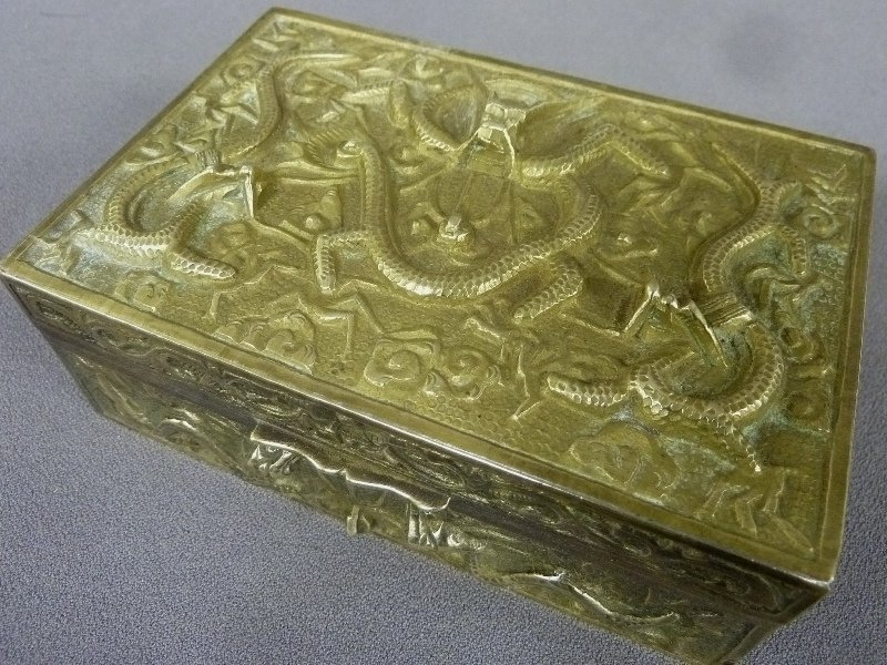 1st 1/4 20th Century Cast Brass Marked China Lift Top