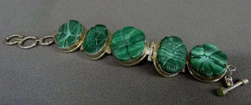Unusual Sterling Five Panel Chinese Bracelet set with