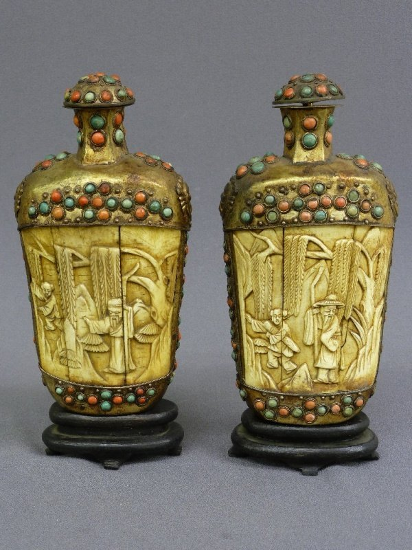 Pair of Hand Carved Bone & Metal Chinese Large Snuff