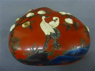 1st 1/4 of the 20th Century Lacquered Bone Inlaid Peach