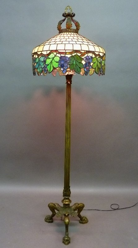 Circa 1910 Superb Leaded Glass Bronze Base Floor Lamp