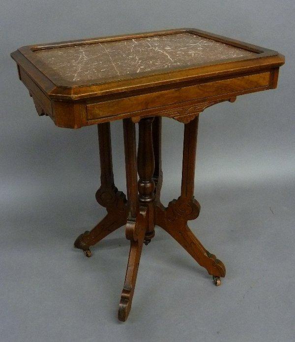 American Circa 1880's Burl Walnut Marble Top Parlor
