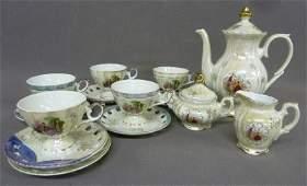 14 Piece Porcelain Tea Service with Romantic Couple