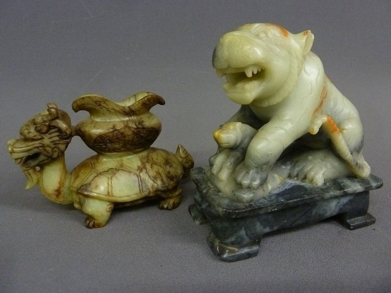 Two Chinese Carved Figures, one on the left is