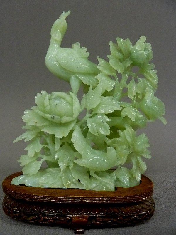 """Large 10"""" Heavily Carved Green Jade Bird with Two"""