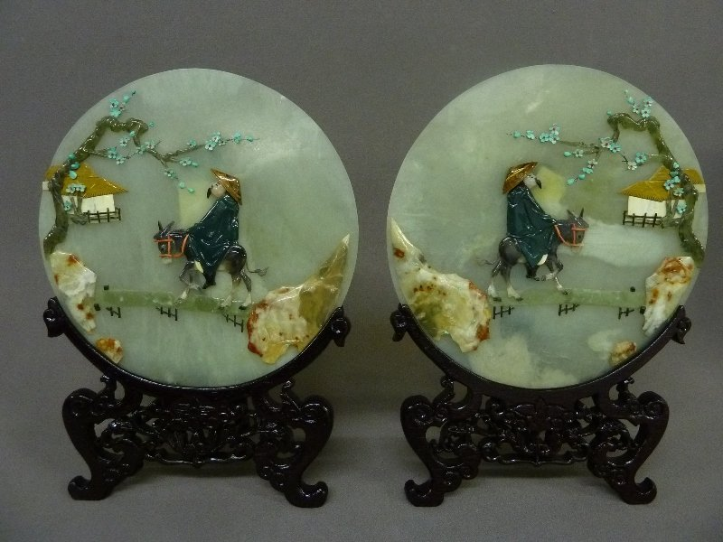 Pair of Carved Hardstone Scenic Plaques of Man on Mule