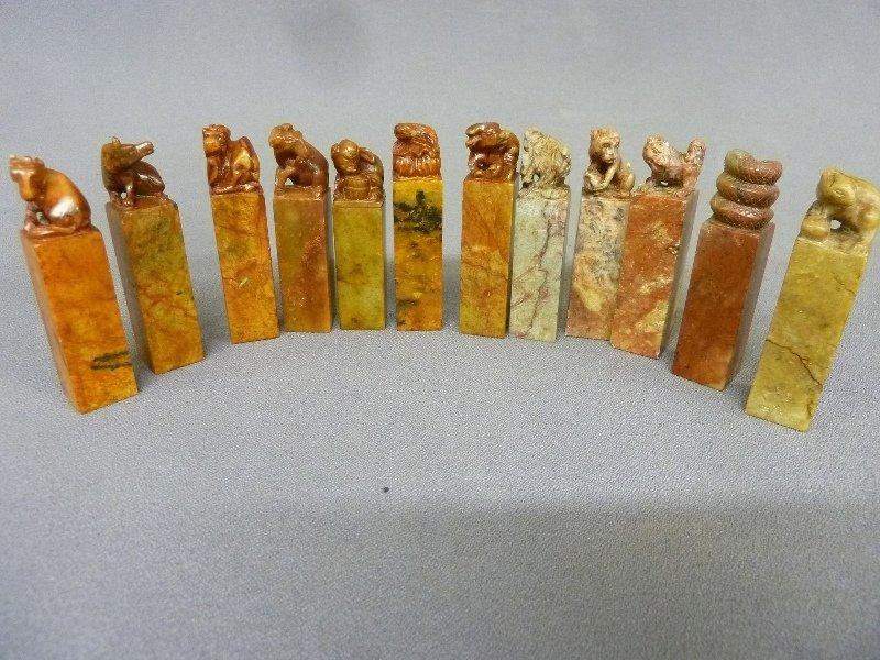 Set of 12 Craved Hardstone Chinese Figures (Chinese