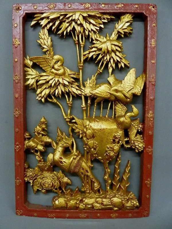 Heavily Carved Wooden Chinese Architectural Carving of