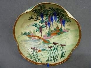 "Circa 1920's Satsuma Porcelain Bowl ""Wisteria"" pattern,"