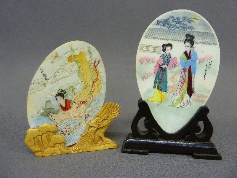 Early 20th Century 2 Hardstone Plaques with Hand