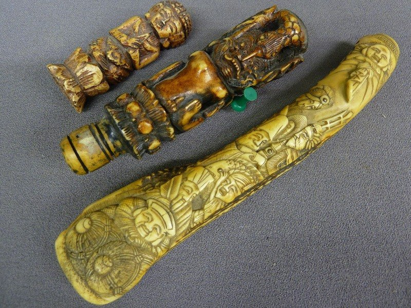 """3 Carved Bone Handles (Largest 7.5"""" with Quality"""