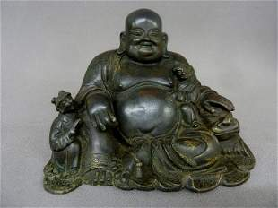 Good 19th Century Bronze Budda with Great old Patina -