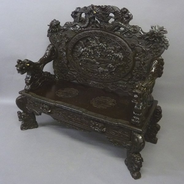 Early 20th Cent Heavily Carved Japanese Settee