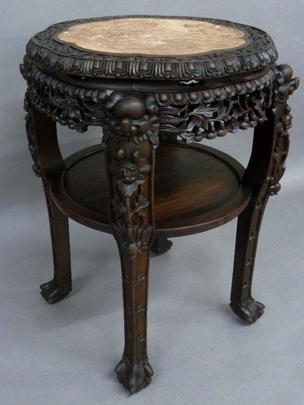 19th Century Chinese Heavily Carved Rosewood Oriental