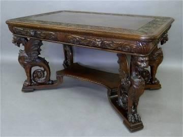 Circa 1885 Heavily Carved Partners Desk by RJ Horner,