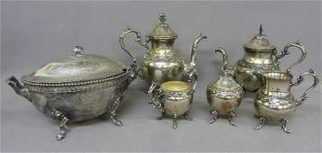 Signed BSP Six piece Silver Plate Tea Set including 2