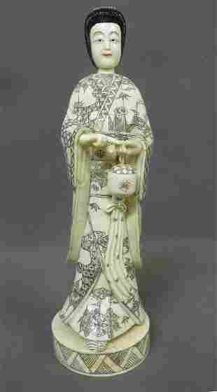 Early 20th Century Carved Bone Figure of Asian Woman