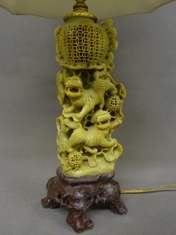 Chinese Carved Soap Stone Foo Dog Table Lamp Scupture