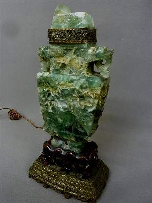 Chinese  Heavily Carved Green Fluorite Urn fitted as a