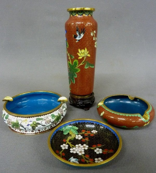 Four pieces of  Asian Cloisonne including rust color