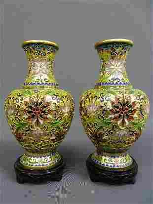 Pair of Bright Gilt Cloisonne Enamel Vases on Wooden