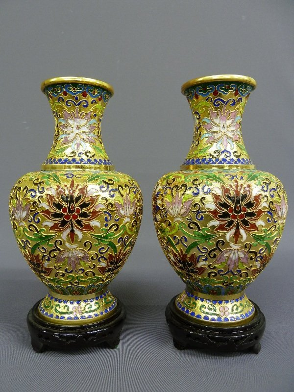 Pair of Bright Gilt Cloisonne Enamel Vases on Wooden