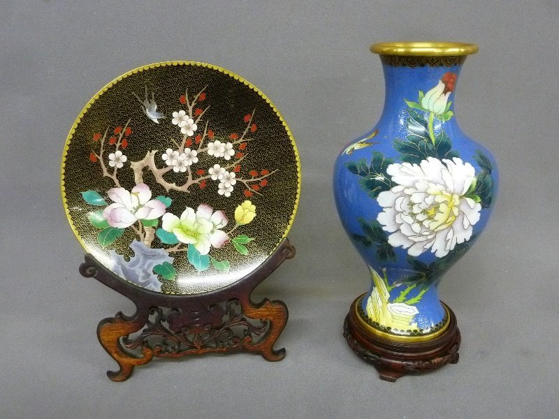 Two Larger Piece of l Asian Cloisonne both depicting
