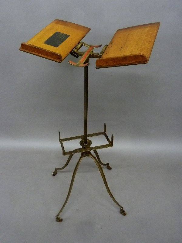 Circa 1900 Oak Dictionary and Book Stand Signed