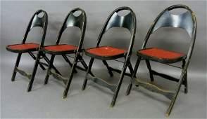 Set of 4 Circa 1920's Black Laquer Folding Chairs