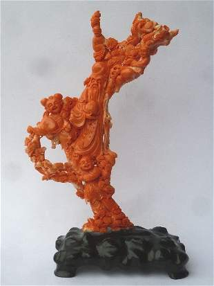 Large Chinese Carved Coral Group on carved wood base