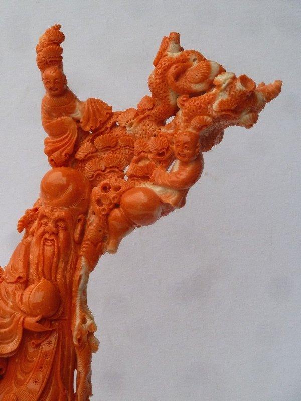 Large Chinese Carved Coral Group on carved wood base - 4