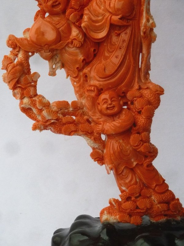 Large Chinese Carved Coral Group on carved wood base - 5